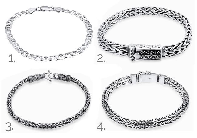 pulseiras de prata masculinas