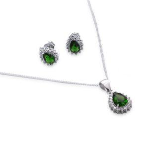 Conjunto Prata Zircônia Verde Ródio